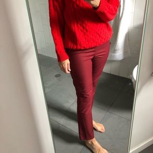 Theory Burgundy Stretch Cotton cropped pant